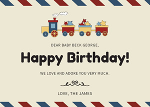 Toy Train Birthday Card Design