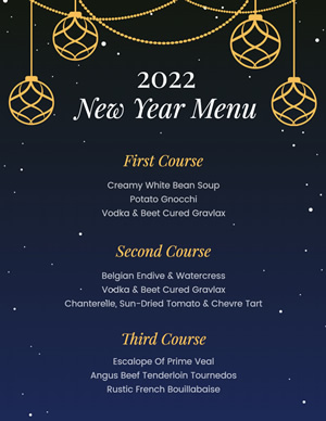 Shiny New Year Menu Design