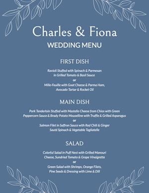 Blue Wedding Menu Design