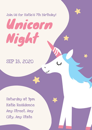 Cute Purple Unicorn Theme Birthday Party Poster Design