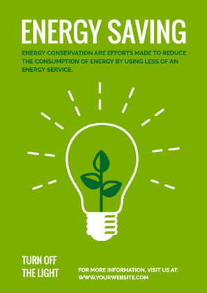 Green Save Energy Poster Poster Design