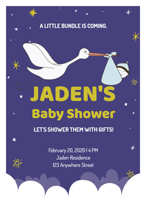 Cute Starry Blue Baby Shower Poster Design