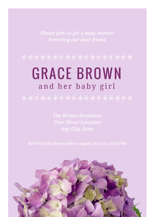 Hydrangea Baby Shower Invitation Design