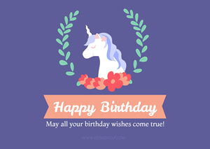 Unicorn and Birthday Card Design