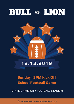 Blue School Football Match Flyer Design