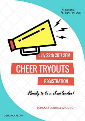 Cheer Tryout Registration Poster Design