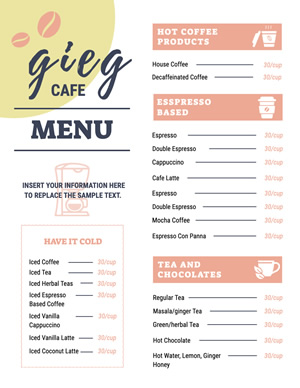 Coffee Cafe Menu Design