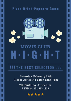 Blue Movie Club Party Flyer Design