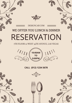 Brown Restaurant Reservation Information Poster Design