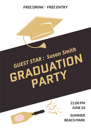 Brown Mortarboard and Champagne Graduation Party Poster Design