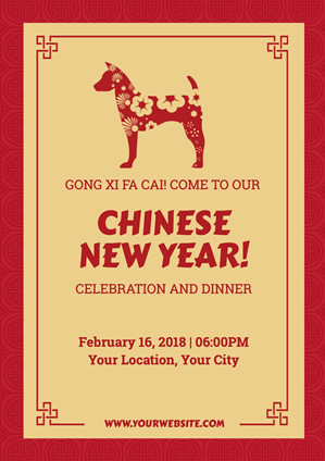 Red Chinese New Year Party Poster Design