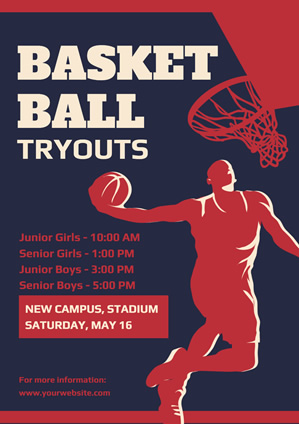Blue and Red Player Basketball Tryout Poster Design