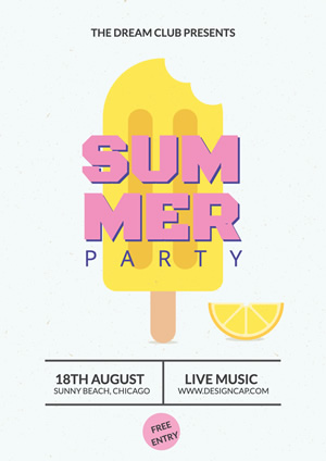 Summer Party Suuny Beach Poster Design