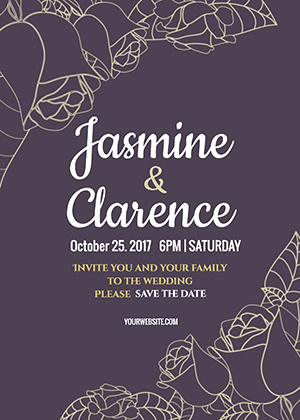 Save the Date Rose Invitation Design