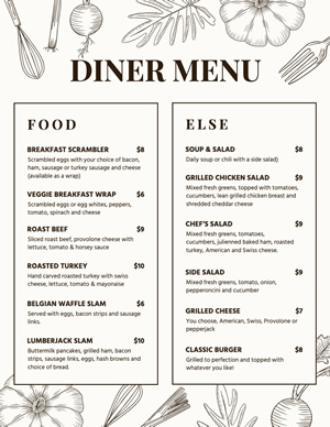 Simple Diner Menu Design