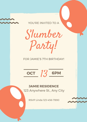 Cute Sleepover Invitation Design