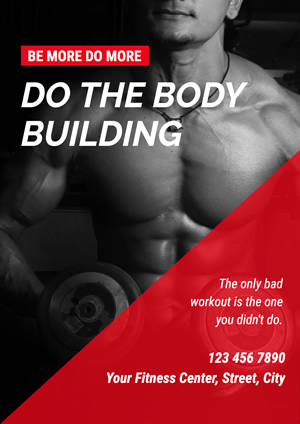 Black and Red Bodybuilding Poster Design