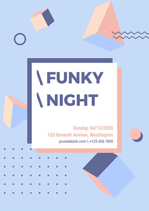 Geometrical Funky Night Poster Poster Design