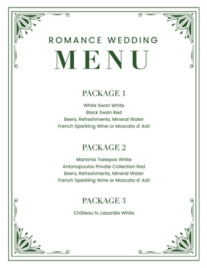 Romance Wedding Menu Design