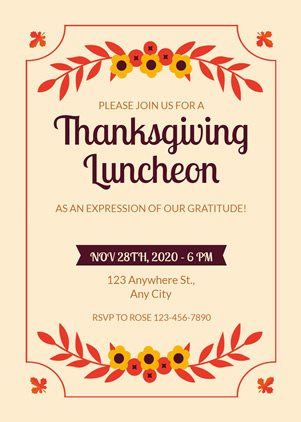 Thanksgiving Lunch Party Invitation Design