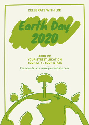 White and Green Earth Day Poster Poster Design