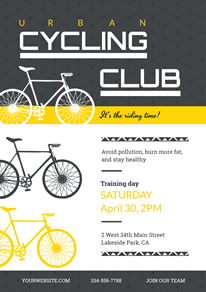 Black and White Cycling Club Recruit Flyer design