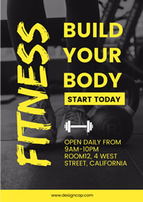 Black and Yellow Fitness Center Poster design