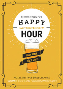 Black Pattern and Yellow Happy Hour Flyer design