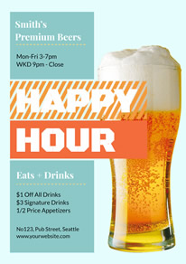 Blue and White Beer Pub Happy Hour Flyer design