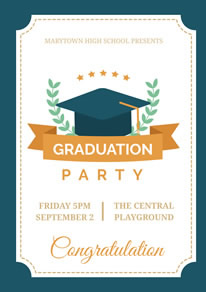 Blue and White Graduation Party Poster design