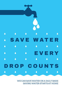 Blue and White Save Water Poster design