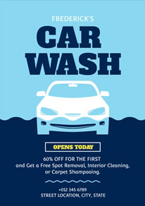 Blue Car Wash Poster design