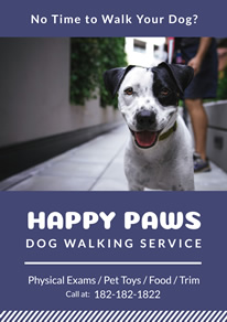 Blue Dog Walking Service Flyer Design