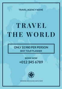 Blue Map Travel Agency Poster design