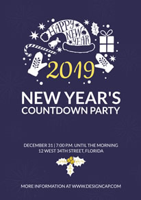 Blue New Year Countdown Party Poster design