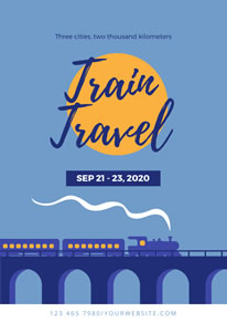 Blue Train Travel Poster design