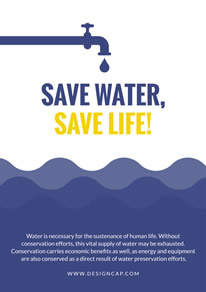 Blue Wave Save Water Poster design