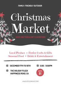Christmas Holiday Market Promotion Poster Design