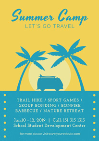 Coconut Tree Summer Camp Flyer design