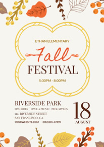 Colorful Leaves Fall Festival Flyer design