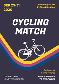 Colorful Track Cycling Match Poster design