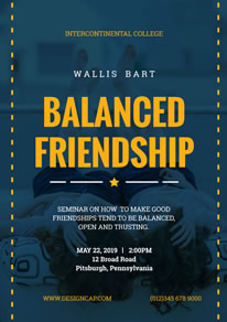 Cool Blue Balanced Friendship Poster design