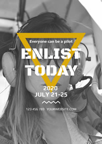 Cool Female Pilot Photo Poster design