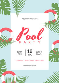 Cool Swimming Pool Party Poster design