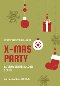 Decorative Green Christmas Party Poster design