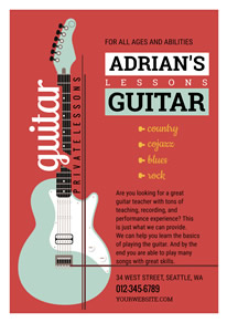 Framed Red Guitar Classes Promotion Flyer design