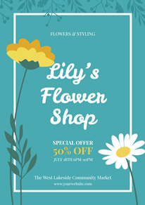 Green Flower Shop Discount Flyer design