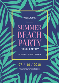 Green Leaves Summer Beach Party Flyer design