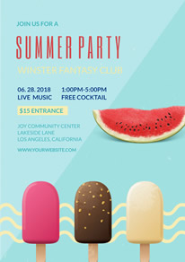 Green Popsicle and Watermelon Summer Party Flyer design