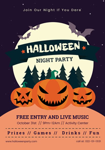 Grin Pumpkin Halloween Night Party Flyer Design